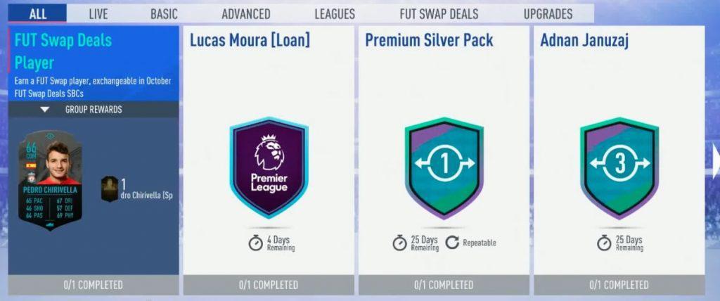 FIFA 19 FUT Swap Deal Tausch Objekt SBC