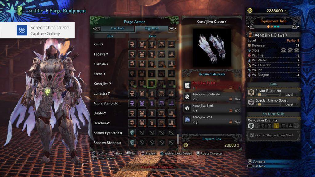 monster hunter world xeno'jiiva gamma handschuhe